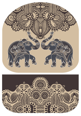 pochette: pattern with elephant of purse money design, you can print on fabric to do some sewing a wallet or handbag, vector illustration
