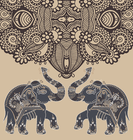 original indian pattern with two elephants for invitation, cover design, fabric pattern or page decoration, ethnic border on vintage background, vector illustration