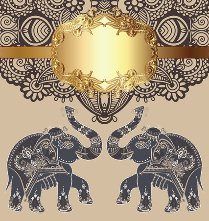 devotional: original indian pattern with two elephants for invitation, cover design, fabric pattern or page decoration, ethnic gold border on vintage flower background, vector illustration Illustration