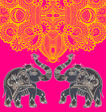 jumbo: original indian pattern with two elephants for invitation, cover design, fabric pattern or page decoration, ethnic border on vintage flower background, vector illustration