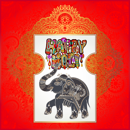 gulal: original Happy Holi design with elephant on floral indian background, vector illustration