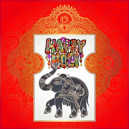original Happy Holi design with elephant on floral indian background, vector illustration