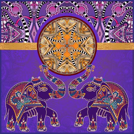 Modelo indio original con dos elefantes para la invitación, diseño de portada, modelo de la tela o la decoración de la página, la frontera étnica en el fondo de la flor de la vendimia, ilustración vectorial Foto de archivo - 54602987