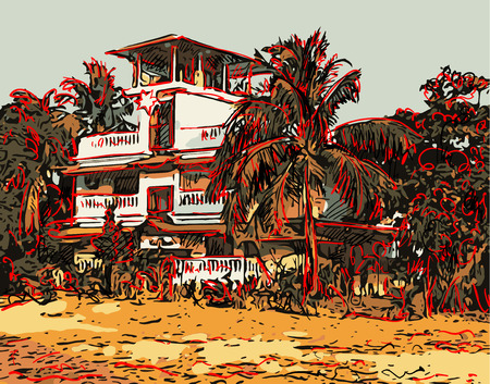 house illustration: Indian landscape digital graphic artwork in Goa, Baga, vector sketch of old town with palms and house, good for postcard design or book illustration