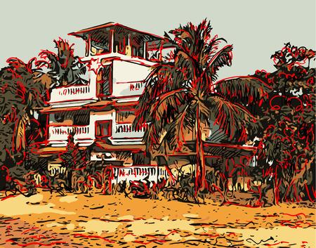 paysage indien illustration graphique numérique dans Goa, Baga, vecteur croquis de la vieille ville avec des palmiers et maison, bon pour la conception de carte postale ou l'illustration du livre