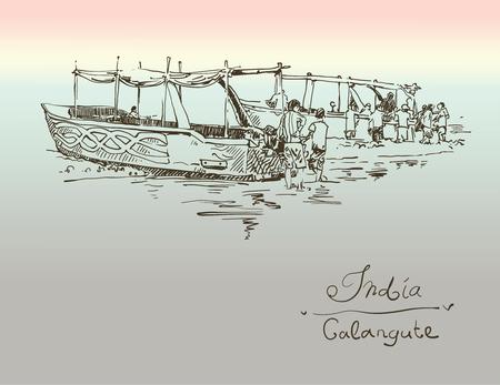 voyage vintage: Inde Calangute dessin de croquis avec deux bateaux à terre, rétro Voyage de style modèle de carte postale de l'affiche avec le lettrage à la main inscription, illustration vectorielle