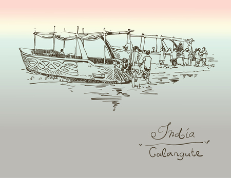 coastal: India Calangute Beach sketch drawing with two boats ashore, retro style travel poster postcard template with hand lettering inscription, vector illustration Illustration