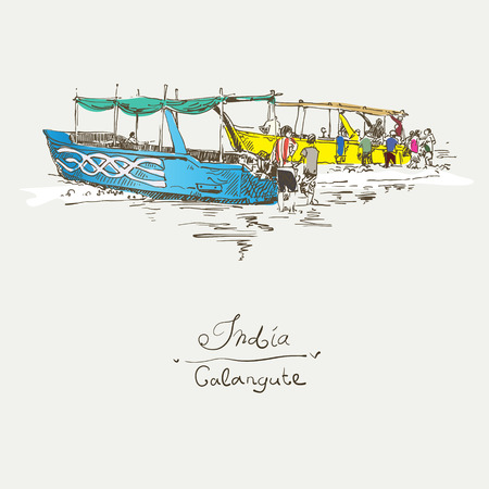 retro postcard: India Calangute Beach sketch drawing with two boats ashore, retro style travel poster postcard template with hand lettering inscription, vector illustration Illustration