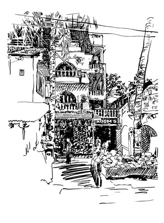 touristic: original drawing of India Goa Calangute Baga landscape point-of-sale street, travel sketch, touristic postcard or poster, vector illustration Illustration