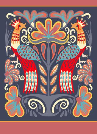 bordado: dibujado a mano original ucraniano patrón decorativo étnico con dos pájaros y flores para la impresión de la tela o el diseño de bordado, ilustración vectorial
