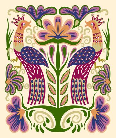 broderie: main ukrainian originale dessinée motif ethnique décoratif avec deux oiseaux et des fleurs pour l'impression de tissu ou de motif de broderie, illustration vectorielle