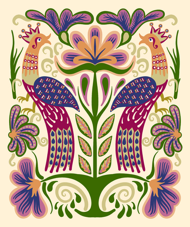 rushnyk: original ukrainian hand drawn ethnic decorative pattern with two birds and flowers for fabric print or embroidery design, vector illustration
