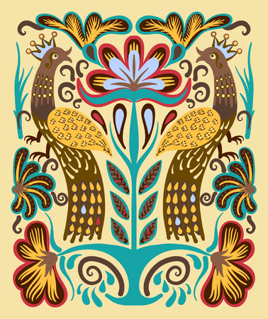 embroidery on fabric: original ukrainian hand drawn ethnic decorative pattern with two birds and flowers for fabric print or embroidery design, vector illustration