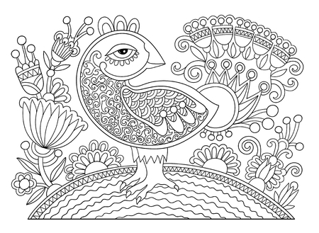 peafowl: original black and white line drawing page of coloring book  bird and flower joy to older children and adult colorists, who like line art and creation, vector illustration