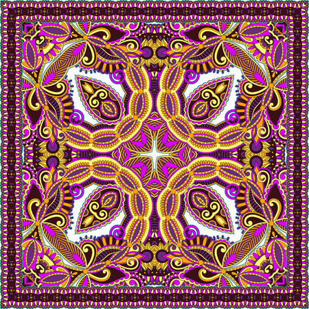 hanky: authentic silk neck scarf or kerchief square pattern design in ukrainian style for print on fabric, vector illustration