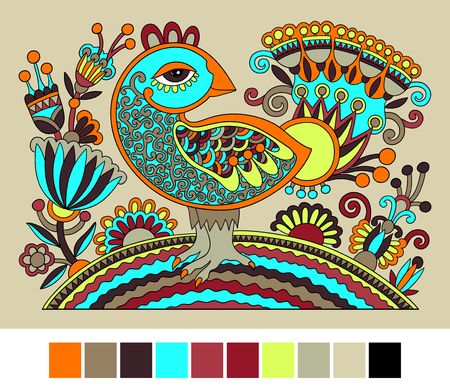 embroidery on fabric: original ukrainian hand drawn ethnic decorative pattern with bird and flowers for fabric print or embroidery design, vector illustration