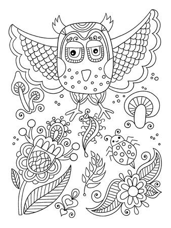 ladybird: black and white doodle line drawing of forest elements - owl, flowers, mushrooms, berries, insect, ladybird, vector illustration for coloring book page