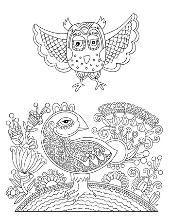 ethno: original black and white line drawing page of coloring book bird and flower joy to older children and adult colorists, who like line art and creation, vector illustration