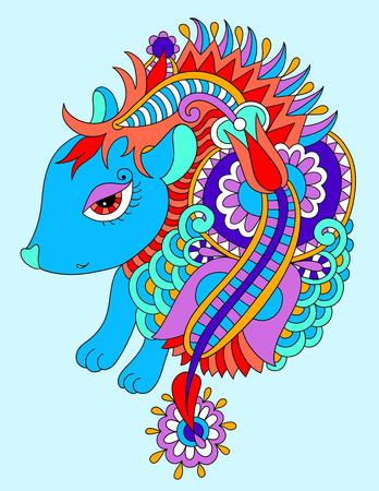 prickle: bright nice hedgehog ethnic doodle drawing, vector illustration Illustration