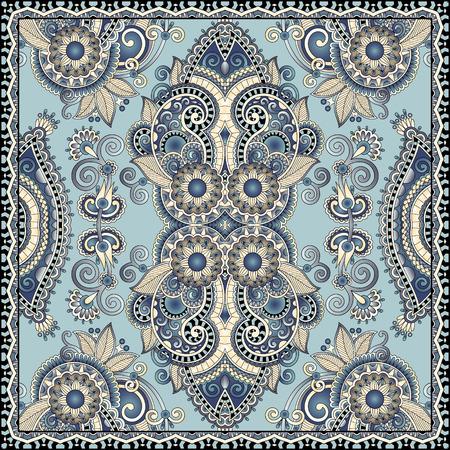 autentico sciarpa al collo di seta o fazzoletto design pattern piazza in stile ucraino per la stampa su tessuto, illustrazione vettoriale