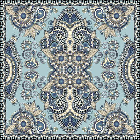 autentyczne jedwabny szal chustka na szyję lub kwadrat wzornictwo w stylu ukraińskim do druku na tkaninie, ilustracji wektorowych