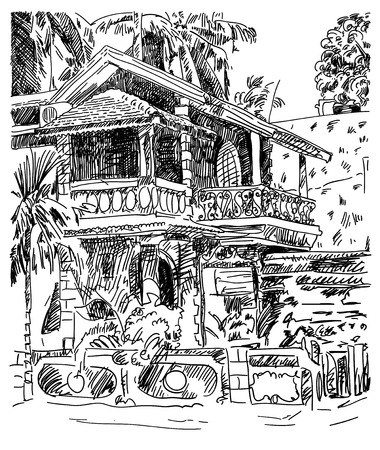 touristic: original drawing of India Goa Calangute Baga landscape street, travel sketch, touristic postcard or poster, vector illustration