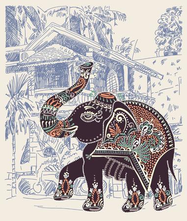 folk village: original vector illustration of India Goa Baga landscape with decorative ethnic folk art elephant, travel vacation postcard or poster concept design Illustration