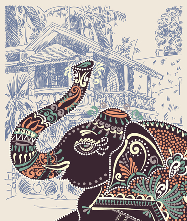 postcard: original vector illustration of India Goa Baga landscape with decorative ethnic folk art elephant, travel vacation postcard or poster concept design Illustration