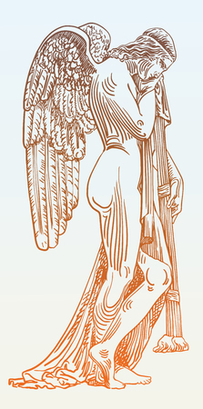 angel cemetery: digital sketch drawing of marble statue sad angel in St. Peters Cathedral, Rome, Vatican, Italy, vector illustration