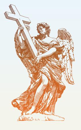 roman catholic: original sketch digital drawing of marble statue of angel from the SantAngelo Bridge in Rome, Italy, vector illustration Illustration
