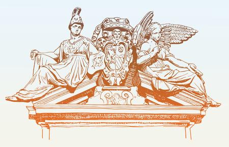 disegno schizzo di edificio storico decorazione marmorea facciata con le donne e Angelo a Roma, Italia, illustrazione vettoriale