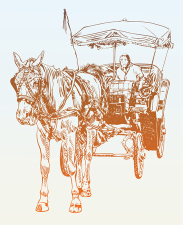 horse and cart: sketch drawing of horse driver, vector illustration