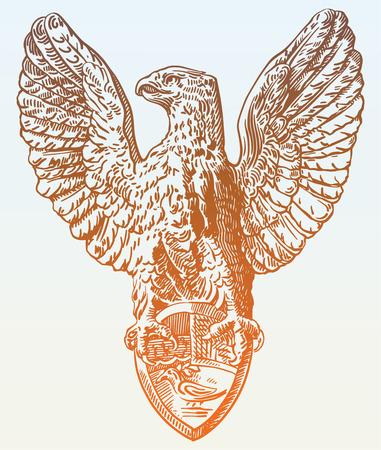 sketch digital drawing of heraldic sculpture eagle in Rome, Italy, vector illustration Векторная Иллюстрация