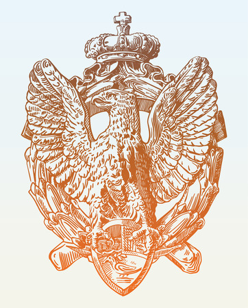 sculpture: sketch digital drawing of heraldic sculpture eagle in Rome, Italy, vector illustration Illustration