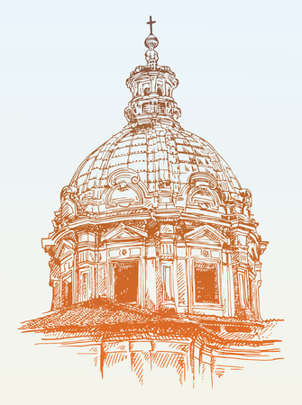 basilica: sketch drawing of old basilica from Rome, Italy, vector illustration Illustration