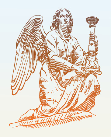 archangel: sketch drawing of marble statue angel from Rome, Italy, vector illustration Illustration