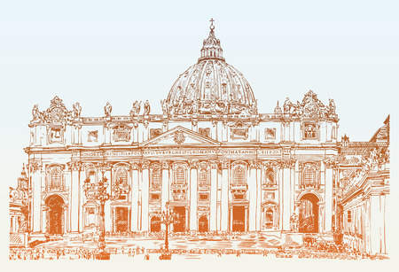 pietro: St. Peters Cathedral Rome Vatican Italy. Hand drawing of Saint Pietro Basilica, vector illustration