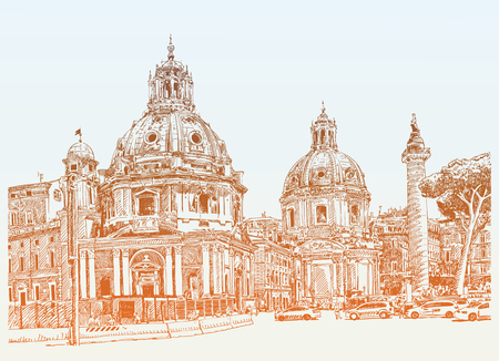 basilica: original digital drawing of Rome Italy cityscape for your travel card design, basilica sketch, vector illustration