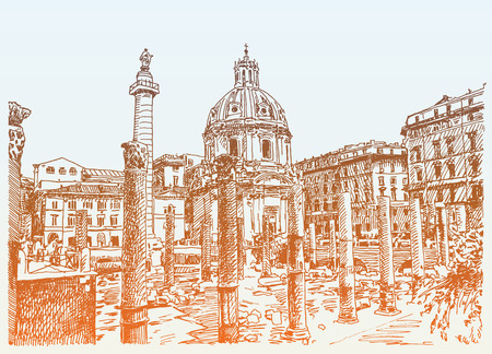 travel card: original sketch hand drawing of Rome Italy famous cityscape, travel card, vector illustration Illustration