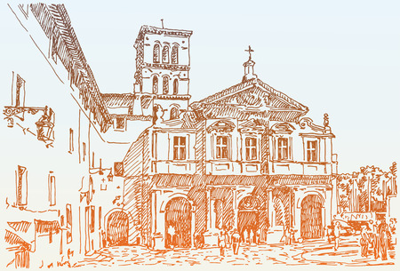italy culture: sketch hand drawing of Rome Italy famous cityscape, travel card, vector illustration