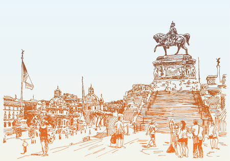 venezia: sketch hand drawing of Piazza Venezia in Rome - Altar of the Fatherland Italy, Vittorio Emanuele, Monument for Victor Emenuel II, famous cityscape, vector illustration