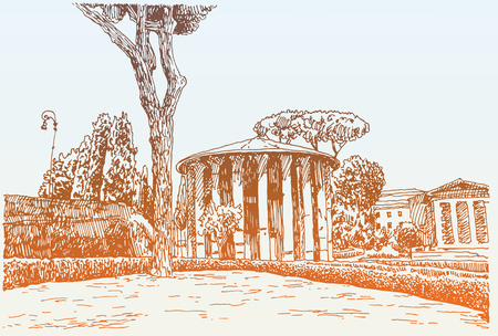 travel card: sketch hand drawing of Rome Italy famous cityscape, travel card, vector illustration