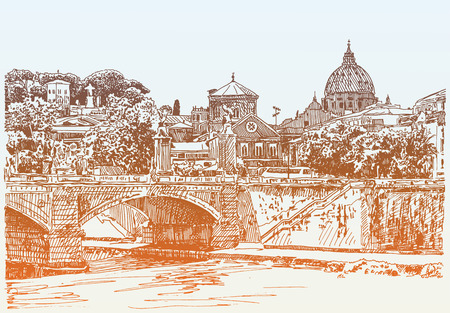 basilica: original sketch drawing of Rome Italy cityscape, type of bridge in river and Saint Pietro Basilica, vector illustration