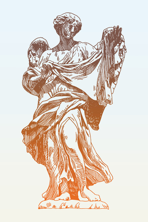 archangel: original sketch ink drawing of marble statue of angel from the Sant Angelo Bridge in Rome, Italy, vector illustration