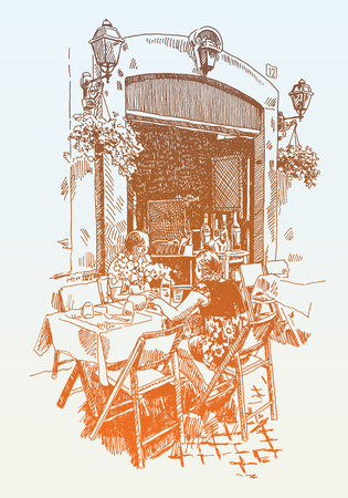 historical romance: original hand drawing of european street outdoor cafe in Rome, Italy, romantic vector illustration