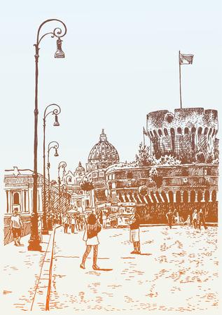estilo: dibujo a mano original del paisaje urbano con la fortaleza de Sant Angelo en Roma, Italia, ilustración vectorial Vectores