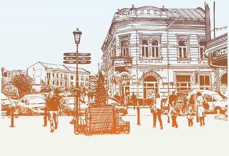 avenue: original digital sketch vector illustration of Uzhgorod cityscape, Ukraine, travel card Illustration