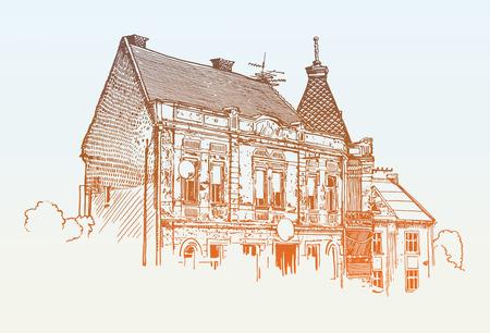 original: digital sketch vector illustration of Uzhgorod cityscape, Ukraine, travel postcard Illustration