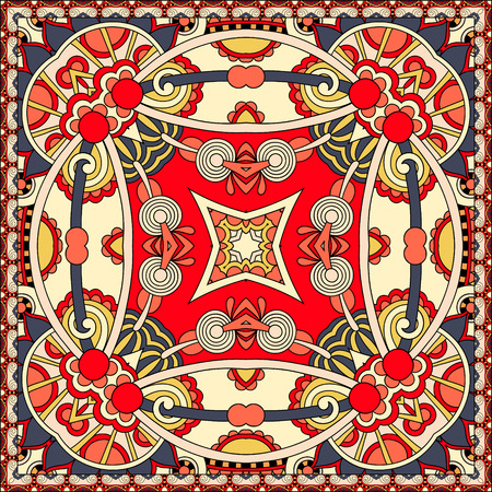 neckerchief: authentic silk neck scarf or kerchief square pattern design in ukrainian style for print on fabric, vector illustration