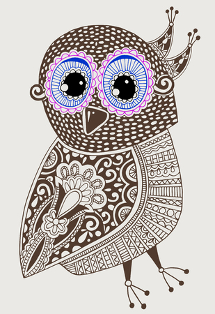 original: original ethnic decorative owl ink hand drawing, vector illustration